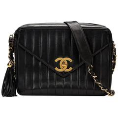 1990s Chanel Black Vertical Quilted Lambskin Vintage Camera Bag