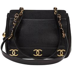 1990s Chanel Black Caviar Leather Vintage Timeless Shoulder Bag