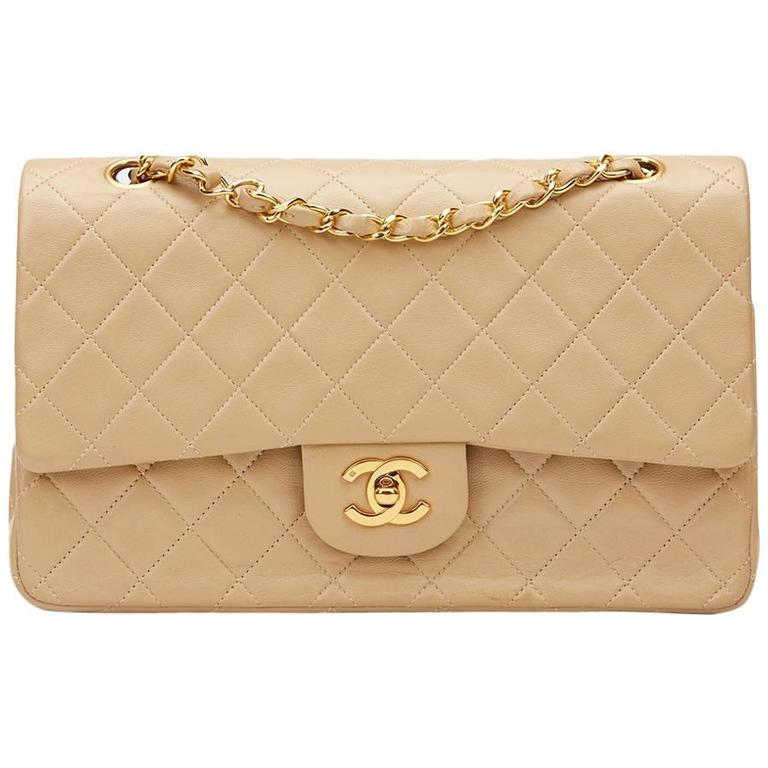 1990s Chanel Beige Quilted Lambskin Vintage Medium Classic Double Flap Bag  For Sale 70c7e127c146e