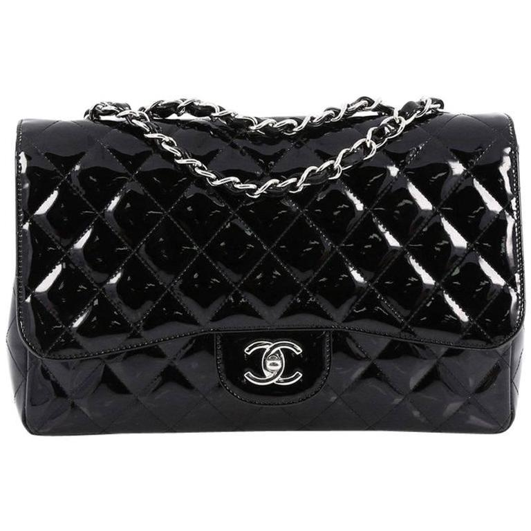 59d3e90cbb52 Chanel Classic Single Flap Bag Quilted Patent Jumbo at 1stdibs