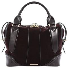 Burberry Zip Top Satchel Suede with Leather Large