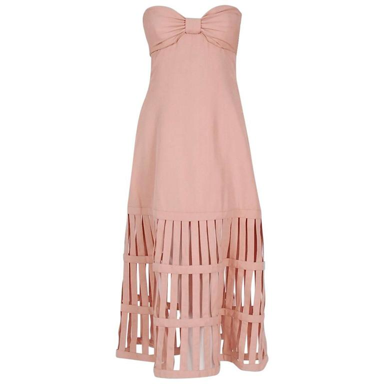 1990's Valentino Pale-Pink Silk Strapless Plunge Birdcage Cut-Out Resort Dress