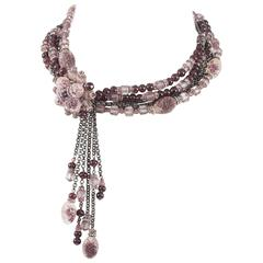 Lovely 1950s multi chain and amethyst glass beaded necklace