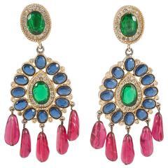 Spectacular colourful 'moghul style' earrings, Kenneth Jay Lane, 1970s
