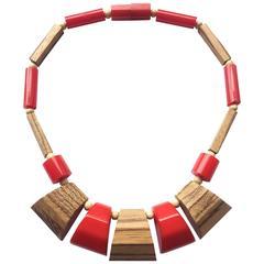 Stylish Bakelite and wood necklace, 1940s