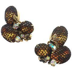 Kramer topaz and mesh earrings, 1960s