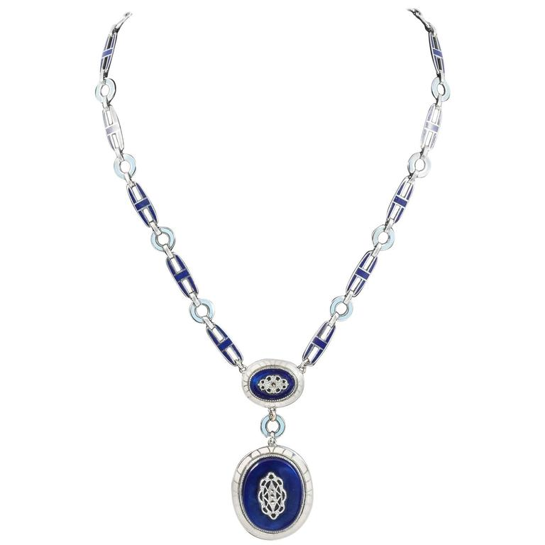 Art Deco enamel and chrome pendant necklace, 1930s  1