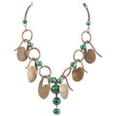 Boho handmade brass and malachite necklace, 1960s