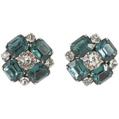 Lovely teal blue and clear paste clip on earrings, Christian Dior, 1950s