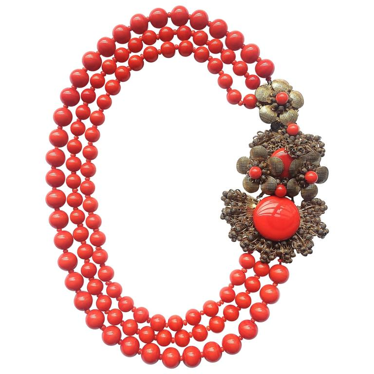 Miriam Haskell vivid red glass multi row necklace, 1960s 1