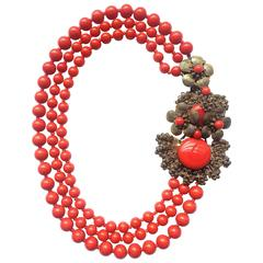 Miriam Haskell vivid red glass multi row necklace, 1960s