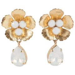 Gilt and opaline glass 'daisy' drop earrings, Philippe Ferrandis, 1990s