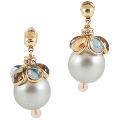 'WW' poured glass/gilt/grey pearl drop earrings, 2016