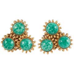 Art glass earrings, William de Lillo, 1960s