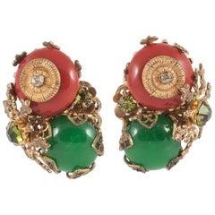 Cornelian red and green glass,, gilt metal earrings, Miriam Haskell, USA, 1950s