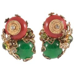 Miriam Haskell green and red earrings, 1950s
