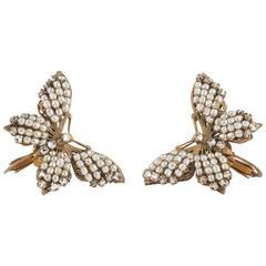 Beautiful 'butterfly' earrings, Miriam Haskell, 1950s