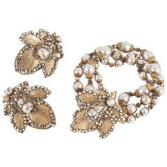 Miriam Haskell baroque pearl, gilt and rose montes bracelet and earrings, 1950s