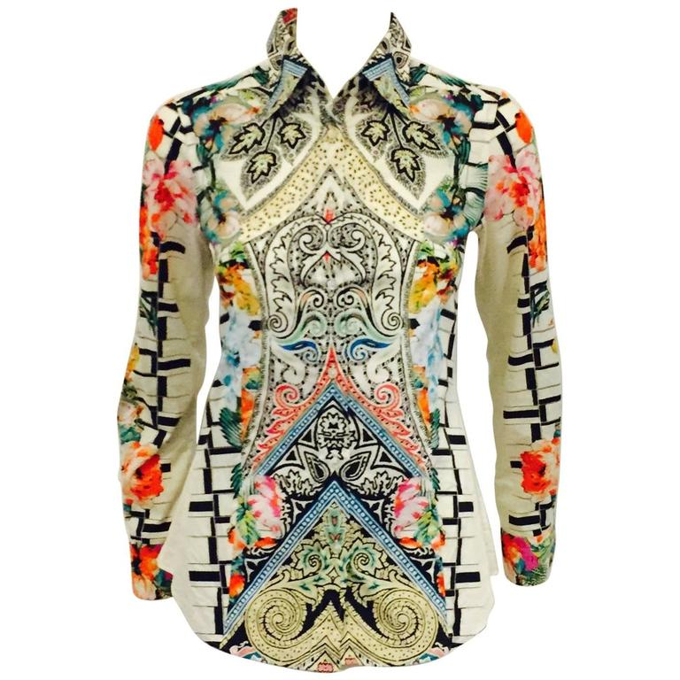 Energetic Etro Multi Colored Flower and Geo Print with Collar & Long Sleeves