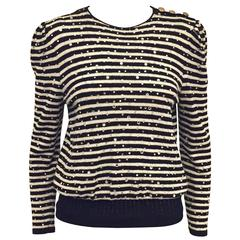 Vintage Adolfo Pullover With Black and White Stripes and Crystal Embroidery