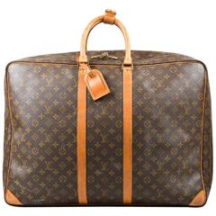 "Vintage Louis Vuitton Brown Tan Canvas Leather Monogram ""Sirius 60"" Suitcase"