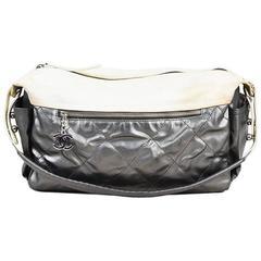 "Chanel Metallic Silver Cream Quilted Canvas ""Paris Biarritz"" Bag"