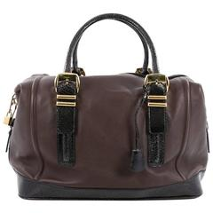 Versace Zip Satchel Leather with Embossed Patent Large
