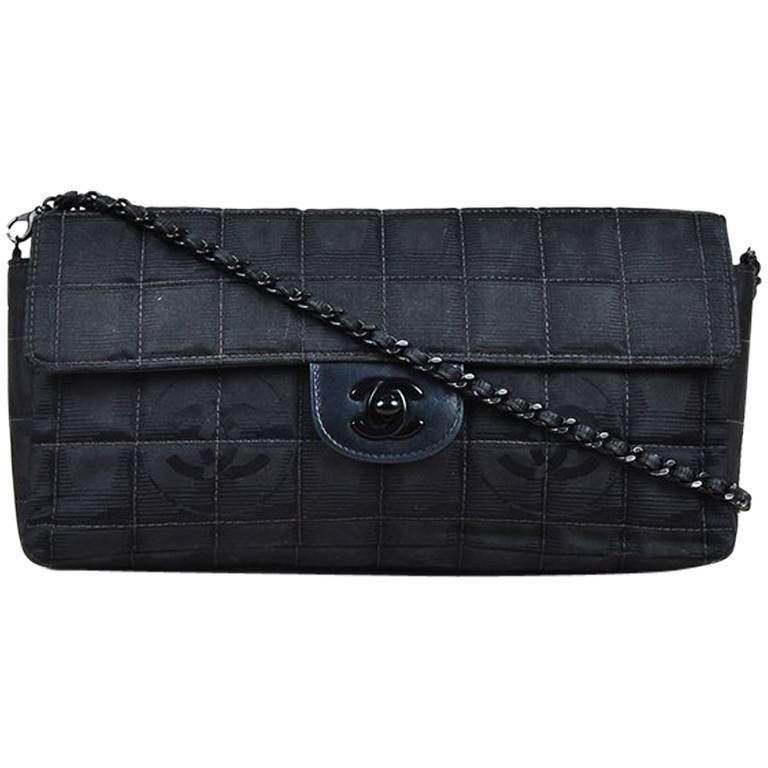 2f40947aeafb Chanel Black Quilted Nylon  CC  Front Flap Chain Link Shoulder Bag ...