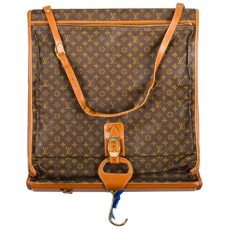 vintage louis vuitton the french luggage co  brown canvas leather garment bag at 1stdibs