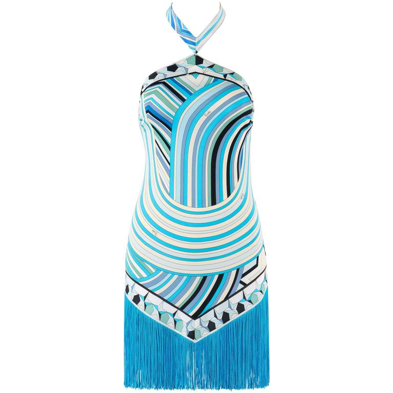 EMILIO PUCCI S/S 2008 Blue Signature Star Print Fringe Mini Dress