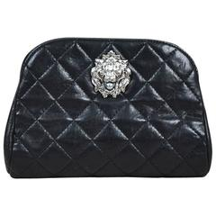 """Chanel Spring 2011 Black Lambskin Quilted Lion Relief & 'CC' Pearl """"Leo"""" Clutch"""