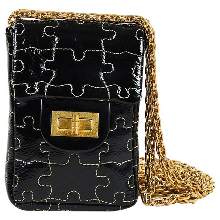 Chanel Black Patent Leather Puzzle Quilted Gold Tone Chain Link Crossbody Bag 1