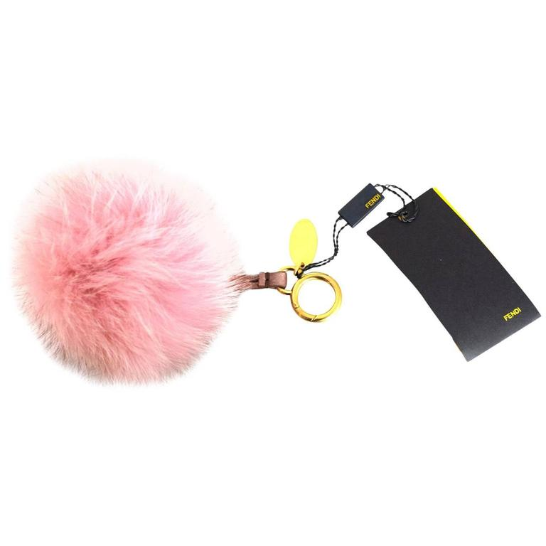 16121ee7deff Fendi NEW Pink Fox Fur Selleria Pom Pom Bag Charm For Sale at 1stdibs