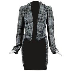 Chanel Autumn 2006 Blue Black & Metallic Tweed Pleated Tailcoat SZ 40