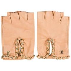 Chanel Tan Perforated Leather Chain Trim Fingerless Gloves SZ 8