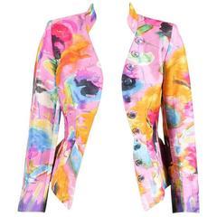 VINTAGE Christian Lacroix Pink Multicolor Printed Peplum Jacket SZ 36 Employee P