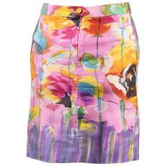 VINTAGE Christian Lacroix Pink Multicolor Silk Printed Pencil Skirt SZ 38