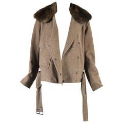 Akris RUNWAY Light Brown Cashmere Sable Collar Belted Bomber Jacket SZ 38