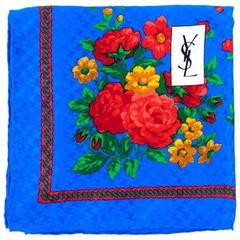 80s Yves Saint Laurent Silk Floral Print Scarf