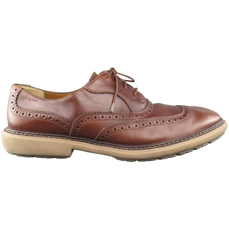 SALVATORE FERRAGAMO Size 11 Brown Perforated Leather Rubber Sole Lace Up Brogues For Sale