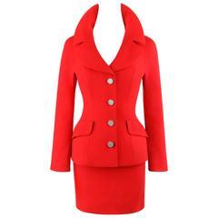 DOLCE & GABBANA A/W 1995 2 Piece Red 100% Wool Blazer Mini Skirt Suit Set