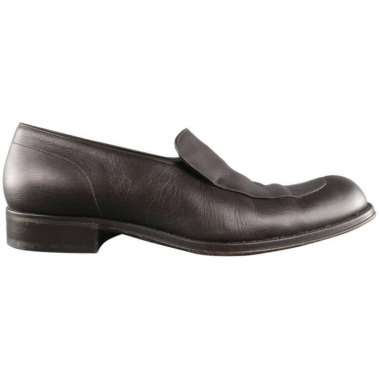 Men's GIORGIO ARMANI Shoes - Size 9.5 Brown Leather Split Apron Toe Loafers