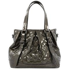 Burberry Lowry Tote Studded Quilted Patent Large