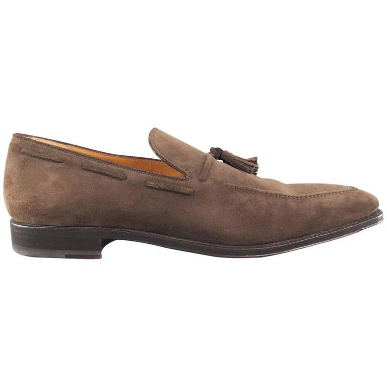 a964140c8da Men s SALVATORE FERRAGAMO Size 11 Taupe Suede Tassel Loafers at 1stdibs