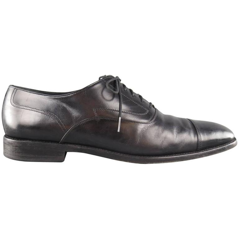 Men's SALVATORE FERRAGAMO Size 11 Black Leather Cap Toe Lace Up