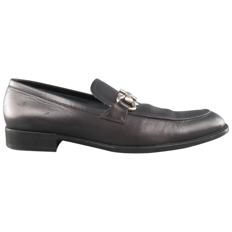 Men's SALVATORE FERRAGAMO Size 11 Black Leather Double Gancini Horsebit Loafers For Sale
