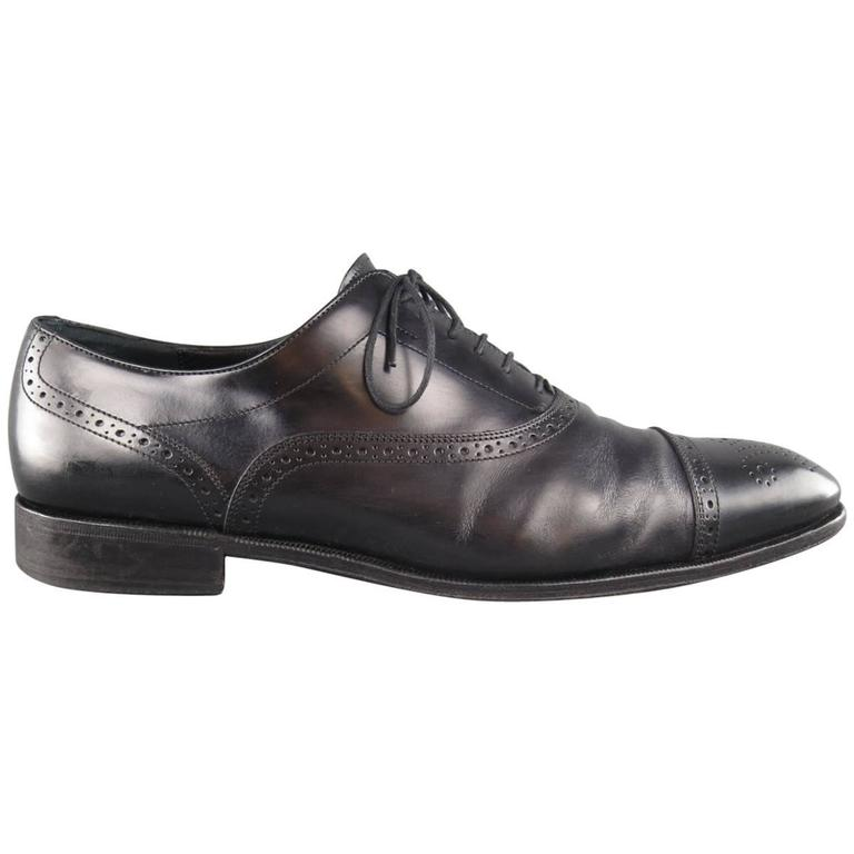 's SALVATORE FERRAGAMO Size 11 Black Leather Wingtip Cap Toe Lace Up