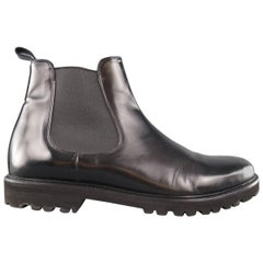 Men's THEORY Ankle Boots - US 12 Black Solid Leather Shoes
