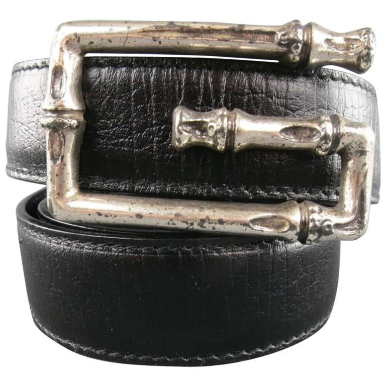 c913c4e3e GUCCI Size 34 Black Leather Silver Bamboo G Buckle Belt at 1stdibs