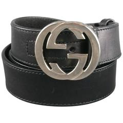 GUCCI Size 36 Black Leather Mini Silver Double G Buckle Belt